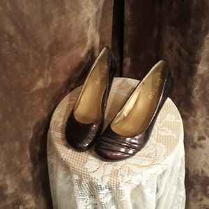 Patent Me Too bronze wedge heels